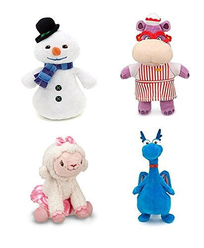 Disney Junior Jr Doc McStuffins CHILLY Snowman Bean Bag Plush & Hallie Hippo Bean Bag Plush & Stuffy Dragon Beanbag Plush and Lambie Beanbag Plush Doll -