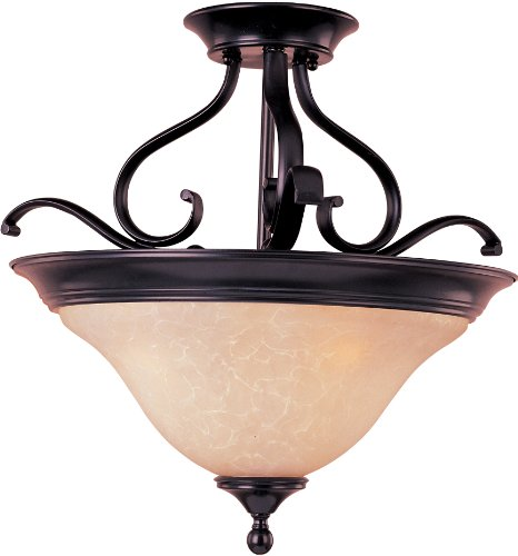 Semi Flush 100w (Maxim 85802WSOI Linda EE 3-Light Semi-Flush Mount, Oil Rubbed Bronze Finish, Wilshire Glass, GU24 Fluorescent Bulb , 100W Max., Dry Safety Rating, Standard Dimmable, Glass Shade Material, 1150 Rated Lumens)