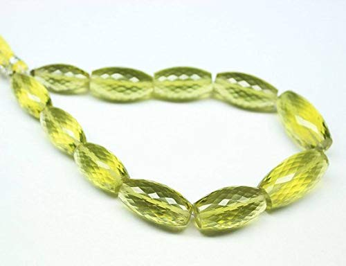 Beads Bazar Natural Beautiful jewellery Natural Lemon Quartz Faceted Loose Tube Gemstone Craft Beads Strand 9