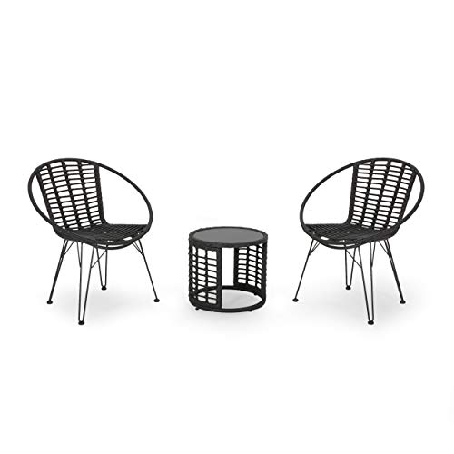 Great Deal Furniture Carrie Outdoor Modern Boho 2 Seater Wicker Chat Set with Side Table, Gray and Black (Rattan Furniture Garden Two Seater)