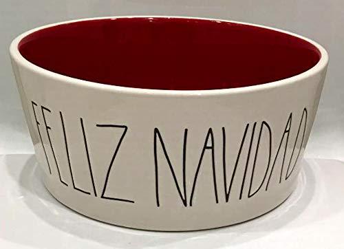 Rae Dun Magenta Christmas Ceramic Pet/Dog Feeding Bowl Feliz Navidad | Extra Large: Diameter - 8 inch | Red Interior
