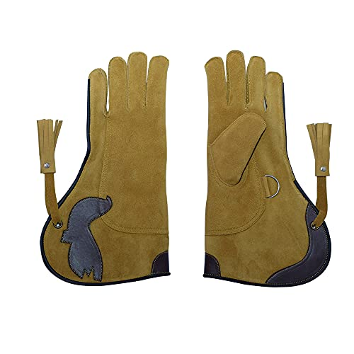 "Falconry Hawk Eagle Gloves a Camel-Brown Unique Soft Cow-Hide Suede Leather for Goshawks, Harris Hawks, Red Tail Hawks up to Big Falcons-Left Hand 14"" Inch"