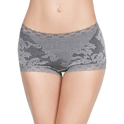 Eve's temptation Cathy Boyshort Panites Seamless Cotton Underwear Sexy Lingerie for Women, Charcoal Gray, Medium (Floral Microfiber Panties)