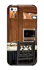 Durable Case For The Iphone 5c- Eco-friendly Retail Packaging(modern Kitchen With Ornate Wood Crown Molding Wooden Cabinets Amp Granite Countertops)