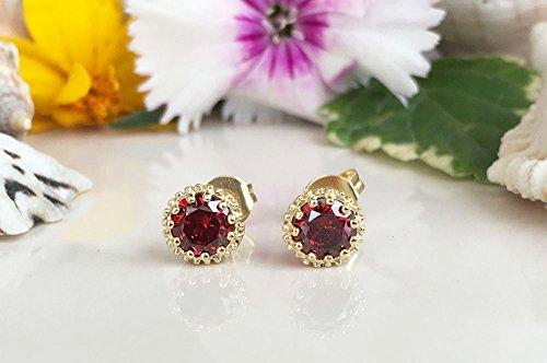Red Garnet Earrings - Genuine Gemstone - January Birthstone - Post Earrings - Delicate Studs - Simple Earrings - Gold Studs