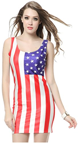 Thenice Women's Sexy Slim Skirt Vest Dress (US National Flag)