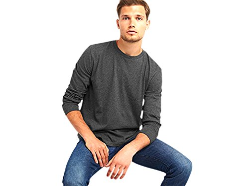 (GAP Long Sleeve T-Shirt Mens Charcoal Heather, Size XXXL )
