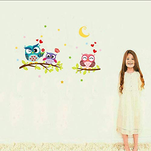 shifeii 2017 Hot Sellingremovable Waterproof Cartoon Animal Owl Wall Sticker for Kids Rooms Home Decor ()