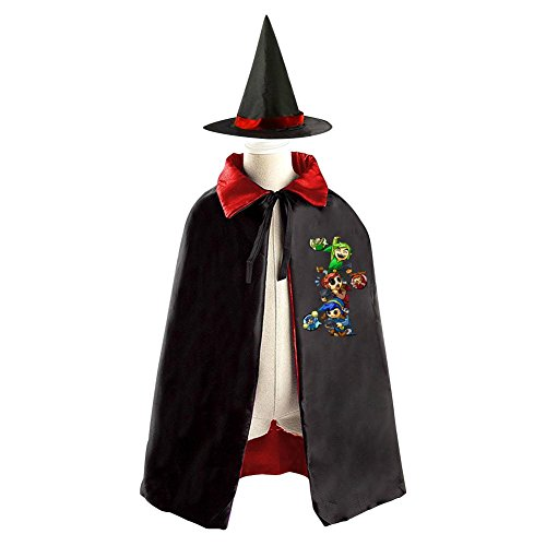 [DBT The Legend of Zelda Logo Childrens' Halloween Costume Wizard Witch Cloak Cape Robe and Hat] (Ganon Cosplay Costume)