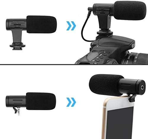 Alician 3.5ミリメートルリアルタイムモニタリングカーディオイドステレオ電話マイクビデオカメラインタビューマイクコンデンサー録音マイク用gopro