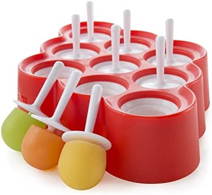 Zoku Mini Pop Molds, 9 Miniature Popsicle Molds With Sticks and Drip-guards, Easy-release BPA-free Silicone