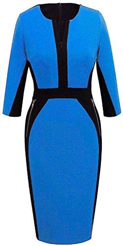 Minetom Vestidos Ropa De Mujer Otoño Business Vintage Casual Coctel Fiesta Negocios Cortos Bodycon Ropa Vestidos Azul