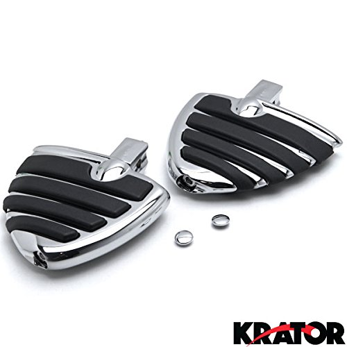 Krator Chrome Motorcycle Wing Foot Pegs Footrests L+R For Kawasaki Vulcan 1500 1600 Mean Streak 02-2008 Rear