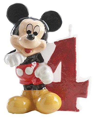 dekora 346144 Vela de Cumpleaños Mickey Mouse Numero 4, Cera, Multicolor, 6.5