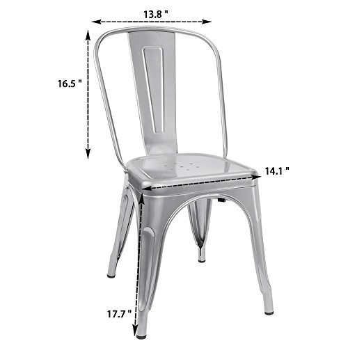 Furmax Metal Dining Chair Indoor-Outdoor Use Stackable Classic Trattoria Chair Chic Dining Bistro Cafe Side Metal Chairs (Sliver)