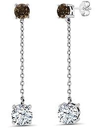 3.72 Ct Round White Topaz Brown Smoky Quartz 925 Sterling Silver Long Dangle Earrings