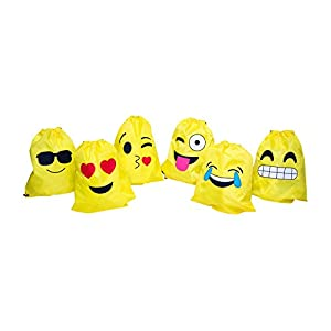 Emoji Drawstring Backpacks (1 dozen): Assorted Set Featuring Popular Emoji Expressions - Designed To Be Light & Sturdy - Great For Emoji Party Favors - Lifetime Replacement - M & M Products Online