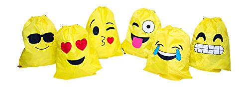 Emoji Drawstring Backpacks (1 dozen): Assorted Set Featuring Popular Emoji Expressions - Designed To Be Light & Sturdy - Great For Emoji Party Favors - Lifetime Replacement - M & - Should Sunglasses You When Wear
