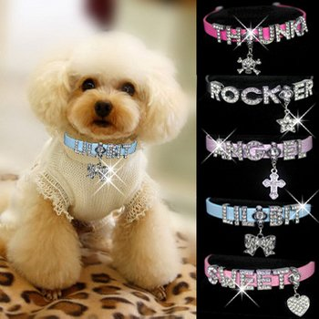 "HOW'S YOUR DOG ""Bling-a-licious"" Name-Me Personalized Necklace for Dogs and Cats - Size Medium"