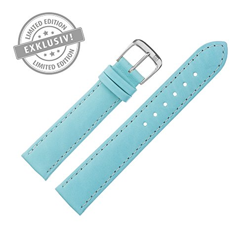 Uhrenarmband 18mm Leder türkis - LIMITED EDITION, Farben des Jahres 2016 - Ersatzarmband aus Rindsleder mit glatter Oberfläche, mit Naht - Marburger Uhrenarmbänder seit 1945 - türkis / silber