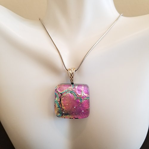 Fused Glass Jewelry, Pink Heart Square Pendant, Chain Included Necklace, Classy Dichroic Glass Sparkling Pink and Green Necklace Pendant, Beautiful and Unique One Of A Kind Handmade Art Jewelry Square Fused Glass Pendant