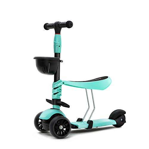 KAMURES 3-in-1 | 3 Wheels Kick Scooter with Removable Seat for Kids & Toddlers, 5 Adjustable Height Kids Scooter with Extra-Wide PU Flashing Wheels, Birthday Gift for Baby Boys Girls Age 2-8 (Green)
