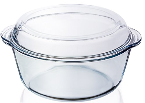 Round Clear Glass Casserole Baking Dish with Lid - 3.2 Qt - 10
