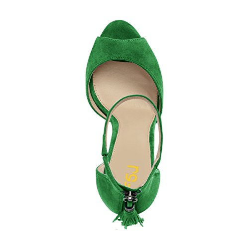 Heels Olive Fringed D'Orsay Toe Chic Stiletto Green Party Strap Size Women Sandals 4 FSJ Peep US Ankle Shoes 15 XTEzq