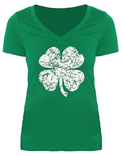 T-shirt Womens V-neck Irish - St Patricks Day Womens Short Sleeve Shamrock Funny Top Irish Green V Neck Tshirt Clover XL