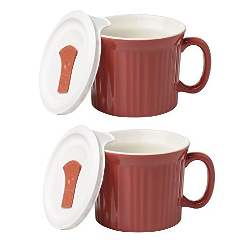 CorningWare Colours Pop-Ins 20-oz Mug w/ Vented Lid - 2 Pack (Red Clay)