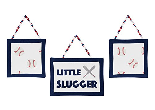 Sweet Jojo Designs Red, White and Blue Wall Hanging Decor for Baseball Patch Sports Collection - Set of 3 - Little Slugger ()