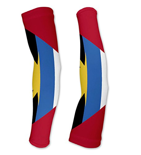 Antigua And Barbuda Flag Compression Arm Sleeves UV Protection Unisex - Walking - Cycling - Running - Golf - Baseball - Basketball - Size ()