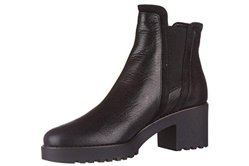 Hogan demi bottes femme à talon en cuir route 277 tronchetto noir