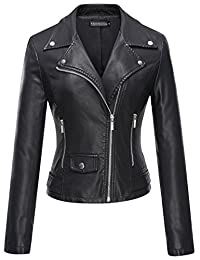 Tanming Women's Leather Coat Jacket (Small, Black)