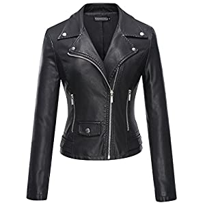 Women's Faux Leather Moto Biker Short Coat Jacket – Tanming