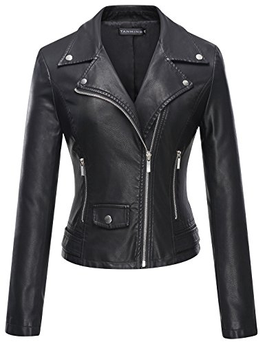 Tanming Women's Leather Coat Jacket (Large, Black)
