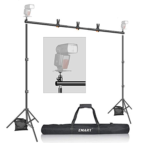 (Backdrop Stand, Emart 7x10ft Photo Video Studio Muslin Background Stand Backdrop Support System Kit with Mini Ball Head, Photography Studio )