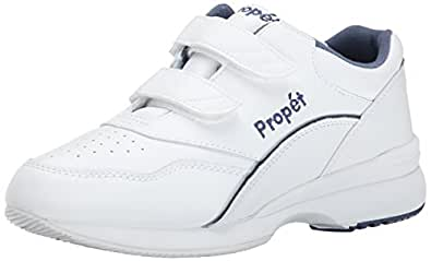 Propet Women's Tour Walker Strap Sneaker,White/Blue,5 M (US Women's 5 B)