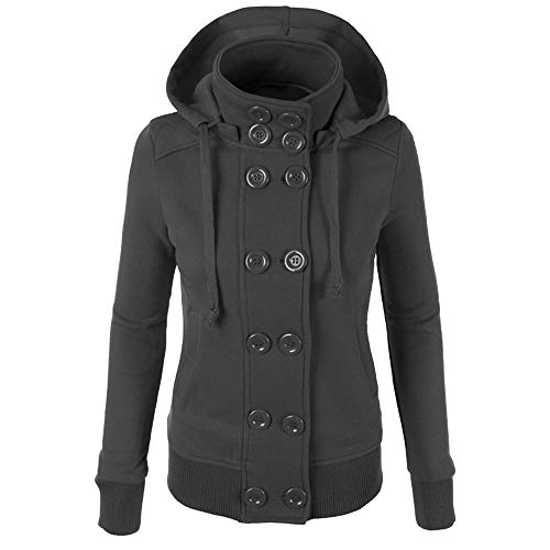 Women Winter Casual Jacket Double-Breasted Hooded Button Down Coat Outwear Gray