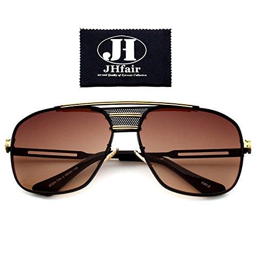JHfair Brand Designer Large Square Metal Aviator Fashion Sunglasses - For Sunglasses Heads Big Designer
