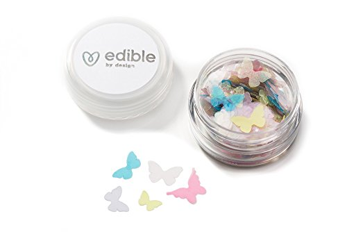 (Edible By Design Butterfly Sprinkles, Pastel Mix/Vanilla, 10 mm, 4 Gram)