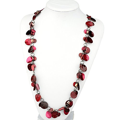 [HONEYJOY Women Multiple Red Chocolate Petals Necklace] (Homemade Indian Halloween Costumes Women)