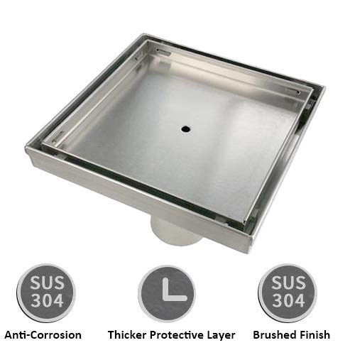 KDrain 6 Inch Square Shower Floor Drain for Bathroom and Kitchen, Tile-in Design Floor Shower Drain Made of 304 Rustproof Stainless Steel with Brushed Finish, Kit Includes Hair Strainer and Key by KDrain (Image #3)
