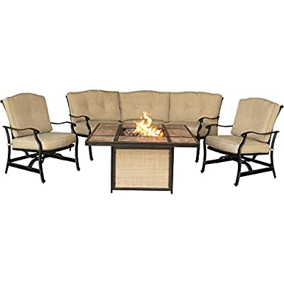 "Hanover TRADTILE4PCFP Furniture 4 Piece Traditions Tile Tabletop Fire Pit Lounge Set Outdoor Furnituve, Natural Oat/Antique Bronze - Set includes: two deep-seating Rocking chairs and one curved sofa Heavy duty rust-resistant Frames: durable all-weather construction with rust-resistant aluminum frames Generous cushion size: 4"" Uv protected cushions offer maximum comfort - patio-furniture, patio, conversation-sets - 41Pjsioxx8L. SS400  -"