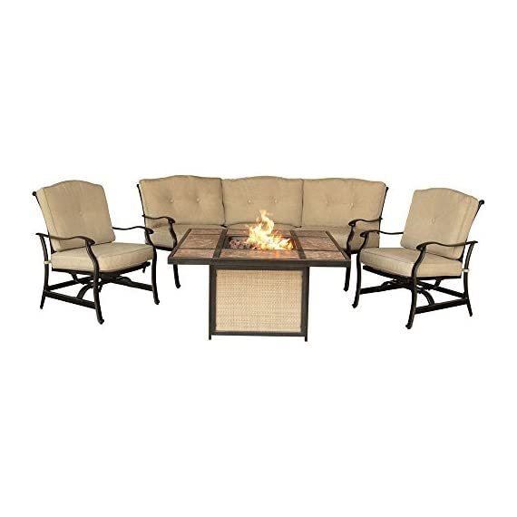 "Hanover TRADTILE4PCFP Furniture 4 Piece Traditions Tile Tabletop Fire Pit Lounge Set Outdoor Furnituve, Natural Oat/Antique Bronze - Set includes: two deep-seating Rocking chairs and one curved sofa Heavy duty rust-resistant Frames: durable all-weather construction with rust-resistant aluminum frames Generous cushion size: 4"" Uv protected cushions offer maximum comfort - patio-furniture, patio, conversation-sets - 41Pjsioxx8L. SS570  -"