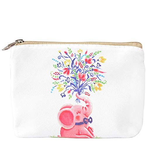 Women and Girls Cute Fashion Coin Purse Wallet Bag Change Pouch Key Holder (ELEPHANT WITH FLOWER)