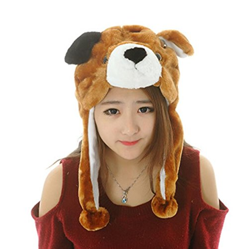 Dalino Creative Cute Cartoon Performance Headwear Plush Animal Headgear (Brown Dog) by Dalino