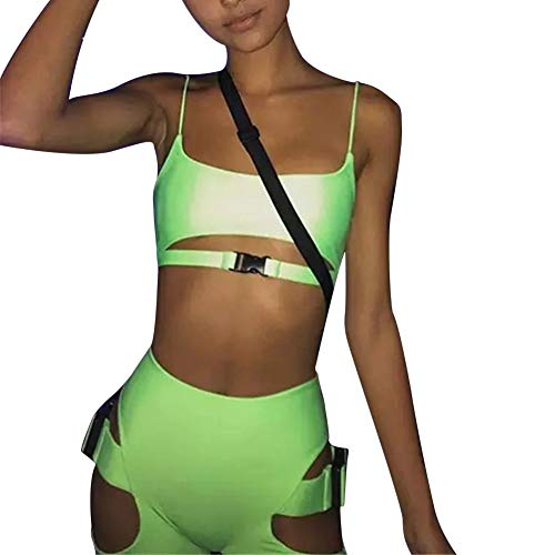 Womens Sexy Bandage 2 Piece Clubwear - BodyconSleeveless Strapless Tank Crop Top and Shorts Set Jumpsuit Green