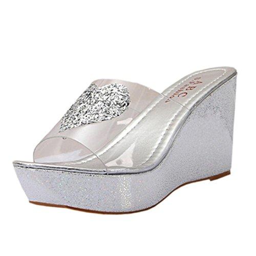 Calzado de mujer, Amlaiworld Zapatillas de deporte de los sandalias de los flips-flopes del verano Plata
