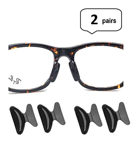 AM Landen 2 Pairs 1.8mm Black Non-Slip Silicone Stick on Nose Pads for Eyeglass Nose pad